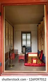 Seoul, South Korea - April 2018: Gyeongbokgung Palace, interior of the old room.