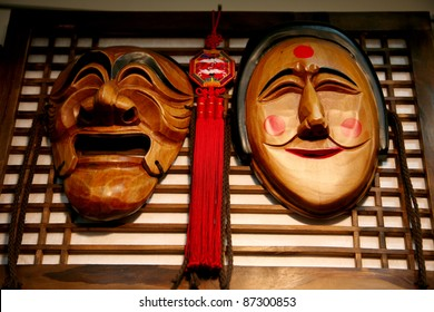 SEOUL, SOUTH KOREA - APRIL 23: Wooden Hahoe Mask, Hahoetal in Korean, in Insadong street on April 23, 2011 in Seoul, South Korea. Hahoe masks are labelled South Korean national treasure.
