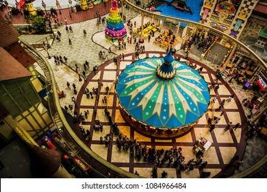 Seoul, South Korea - April 6, 2018: Aerial view of Lotte World Adventure theme park.