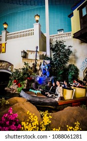 Seoul, South Korea - April 6, 2018: Take the plunge on The Adventures Of Sinbad in Lotte World Adventure theme park.