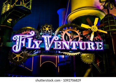 Seoul, South Korea - April 6, 2018: Fly Venture sign board in Lotte World Adventure theme park.