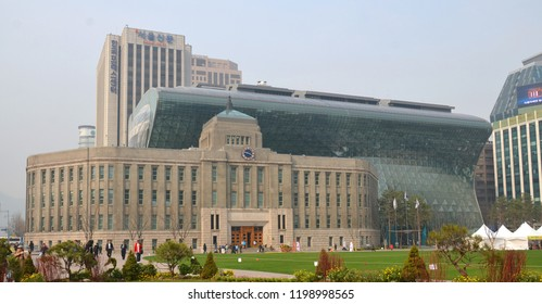 SEOUL SOUTH KOREA APRIL 6: City Hall is a governmental building for the Seoul Metropolitan Government in South Korea on april 6 2013 in Seoul South Korea.