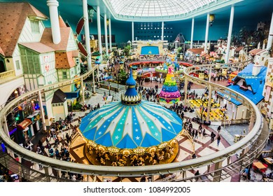 Seoul, South Korea - April 6,2018: World Monorail in Lotte World Adventure theme park.