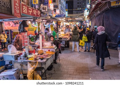 SEOUL SOUTH KOREA - APRIL 7, 2018: Namdaemun Market in Seoul is the oldest and largest market in South Korea.