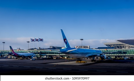 Seoul, South Korea - April 7,2018: The Gimpo Airport (GMP),  third largest airport in Korea, with carriers Korean Air (KE) and Asiana Airlines (OZ).