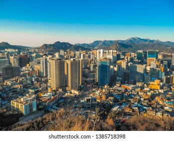 SEOUL, SOUTH KOREA - APRIL29, 2019 :Beautiful view of seoull city from N Tower or Seoul Tower on Namsan mountain during winter, Seoul, South Korea