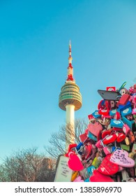 SEOUL, SOUTH KOREA - APRIL29, 2019 : Many colorfull Padlock with the name and love text in Seoul Tower on Namsan mountain during winter, Seoul, South Korea