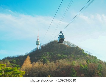 SEOUL, SOUTH KOREA - APRIL29, 2019 : Traveller taking Cable car in Seoul Tower on Namsan mountain during winter, Seoul, South Korea