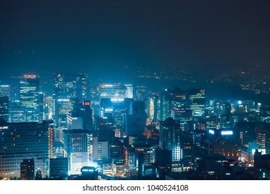 SEOUL, SOUTH KOREA - AUGUST 11, 2015: Skyscrapers near Namsan tower - Seoul, Republic of Korea