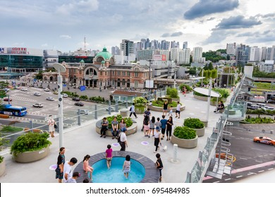 Seoul, South Korea - August 13, 2017:  View of Seoullo 7017 skypark,  is an elevated linear park in central Seoul, South Korea.