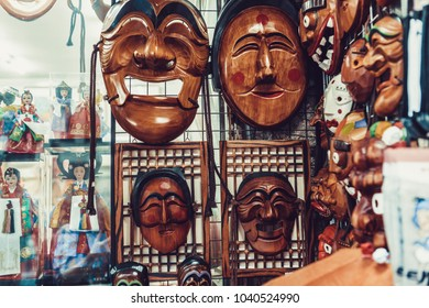 SEOUL, SOUTH KOREA - AUGUST 14, 2015: Traditional Korean wooden masks sold in Insadong street of Seoul, Republic of Korea