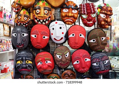 SEOUL, SOUTH KOREA - AUGUST 14, 2015: Korean wooden masks sold in Insadong area of Seoul, South Korea