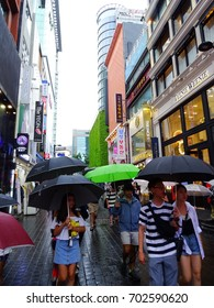Seoul, South Korea, August 15,2017, There are many people in MyeongDong Street, one of the most famous and bustling street in Seoul, Korea,