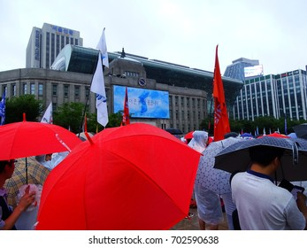 Seoul, South Korea, August 15,2017, Thousands of people urge for anti-war march against between North Korea and The United States war in South Korea and deployment of THADD by US at Seoul Square.