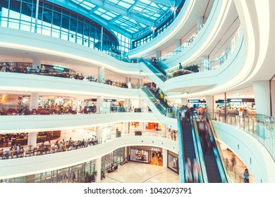 """SEOUL, SOUTH KOREA - AUGUST 17, 2015: People moving up and down while doing shoping in """"Times Square Mall""""- Seoul, South Korea"""