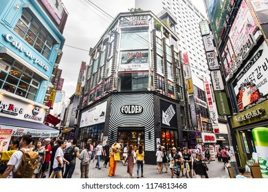 Seoul, South Korea - August 18, 2018: Myeong-dong is a vibrant shopping and tourism district in Jong-gu, central Seoul South Korea