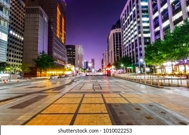 Seoul, South Korea - August 19, 2013: Cityscape of Seoul at Cheonggyecheon at night, a tourist attraction, a place to relax and cultural space in Seoul, South Korea