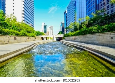 Seoul, South Korea - August 19, 2013: Cityscape of Seoul at Cheonggyecheon a tourist attraction, a place to relax and cultural space in Seoul, South Korea