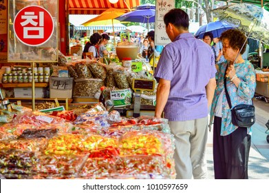 Seoul, South Korea - August 19, 2013: Peoples who shop at Seoul Herbal Medicine Market, this market boasts 70% of all transactions in herbal medicine