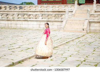 SEOUL, SOUTH KOREA - august 20, 2019: tourist wearing traditional Korean clothes Hanbok at the Gyeongbokgung Palace in Seoul City, South Korea.