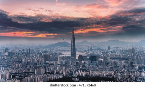 SEOUL, SOUTH KOREA - AUGUST 20: The best view of South Korea with Lotte world mall at Namhansanseong Fortress on August 20, 2016 in Seoul,South Korea