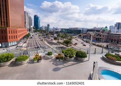 Seoul, South Korea - August, 2018: View of Seoullo 7017 sky park and Seoul station in Summer.