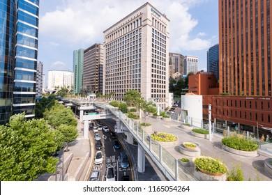 Seoul, South Korea - August, 2018: Seoullo 7017 sky park in Seoul city.
