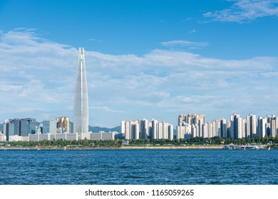 Seoul, South Korea - August, 2018: View of Han river and Lotte world tower in Seoul city.