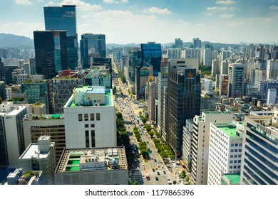 Seoul, South Korea - August 22, 2018: The view from Yeoksam towards Gangnam on a hot summer's day in Seoul, South Korea
