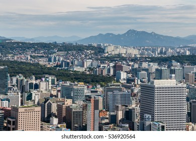 Seoul, South Korea - August 26, 2016: residential suburb in Seoul, South Korea