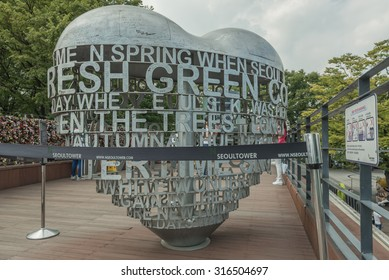 Seoul, South Korea - August 29, 2015 : The Love Key Ceremony and coin binocular at Seoul Tower, located on Namsan Mountain in central Seoul