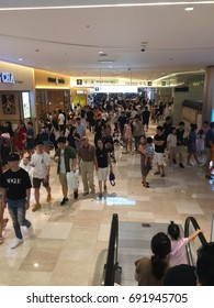 Seoul, South Korea, August 6, 2017, Hundreds of people are in indoor shopping mall to avoid the summer heat wave at Lotte world Mall, one of the largest shopping mall in Korea