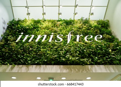 SEOUL, SOUTH KOREA - CIRCA JUNE, 2017: Innisfree sign in Seoul. Innisfree is a South Korean cosmetics brand owned by Amore Pacific