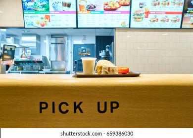 SEOUL, SOUTH KOREA - CIRCA MAY, 2017: inside a McDonald's restaurant. McDonald's is an American hamburger and fast food restaurant chain.