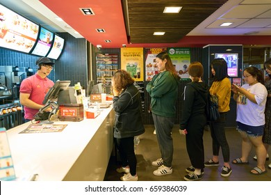 SEOUL, SOUTH KOREA - CIRCA MAY, 2017: counter service in a McDonald's restaurant. McDonald's is an American hamburger and fast food restaurant chain.
