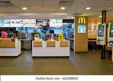 SEOUL, SOUTH KOREA - CIRCA MAY, 2017: inside McDonald's restaurant. McDonald's is an American hamburger and fast food restaurant chain.