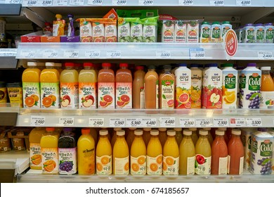 SEOUL, SOUTH KOREA - CIRCA MAY, 2017: juice on display at Lotte Mart in Seoul. Lotte Mart is an east Asian hypermarket that sells a variety of groceries, clothing, toys, electronics, and other goods.