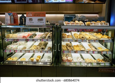SEOUL, SOUTH KOREA - CIRCA MAY, 2017: Dunkin Donuts at Gimpo Airport Domestic Terminal. Dunkin Donuts is an American global donut company and coffeehouse.