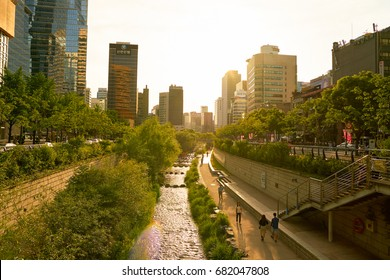 SEOUL, SOUTH KOREA - CIRCA MAY, 2017: Cheonggyecheon Stream and modern buildings in Seoul. Seoul Special City is the capital and largest metropolis of the Republic of Korea.