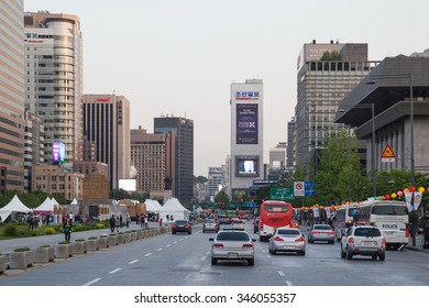 Seoul, South Korea - circa September 2015: Road traffic anc cars driving on the streets of Seoul, South Korea