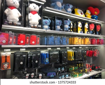 Seoul, South Korea - Dec 2018: Variety of BT21 goods on display in a Line Friends Shop in Itaewon. BT21 are characters designed by worldwide popular K Pop group BTS.