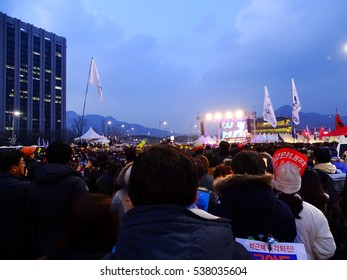 SEOUL, South Korea, December 17,2016, Hundreds of thousands of people urge the President Park Geun-hye removal at Gwanghwamun square.