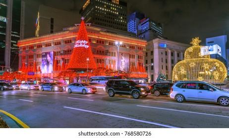 SEOUL, SOUTH KOREA - DECEMBER, 2017: Beautiful Christmas lights nearly Myeongdong shopping street, Seoul, South Korea.