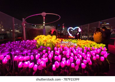 Seoul, South Korea - December, 2017: Night view of Seoullo 7017 sky garden nearly Seoul station.
