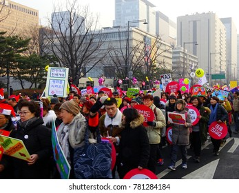 Seoul, South Korea, December 23,2017, Thousands of people urge for peace Korea march between North Korea and The United States war in South Korea at Gwanghwamun Square.