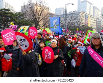 Seoul, South Korea, December 23,2017, Thousands of people urge for peace Korea march against between North Korea and The United States war in South Korea at Gwanghwamun Square.