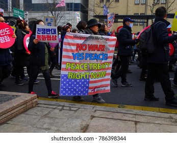 Seoul, South Korea, December 23,2017, Thousands of people urge for peace Korea march against between North Korea and The United States war in South Korea at Seoul.