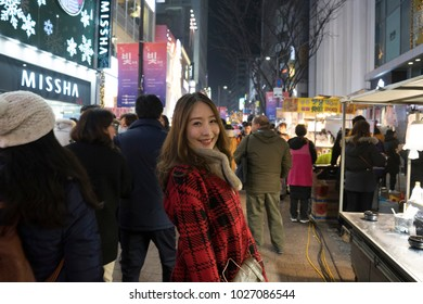 SEOUL, SOUTH KOREA - DECEMBER 29, 2017 : Unidentified people shopping and walking in Myeongdong shopping street in Seoul, South Korea on December 29,2017.