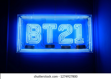 """SEOUL, SOUTH KOREA - DECEMBER 29, 2018:  BT21 shop neon sign, BT21 is the first presentation from LINE Friends Creators. The characters designed by a famous South Korean boyband """"BTS""""."""