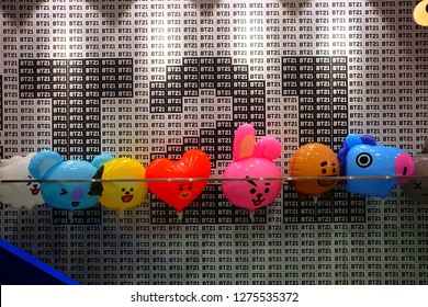 "SEOUL, SOUTH KOREA - DECEMBER 29, 2018:  BT21 Character Balloons, BT21 is the first presentation from LINE Friends Creators. The characters designed by a famous South Korean boyband ""BTS""."